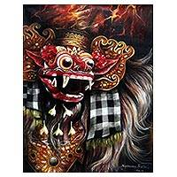 'Barong Portrait' - Signed Painting of Barong and Volcanoes from Bali