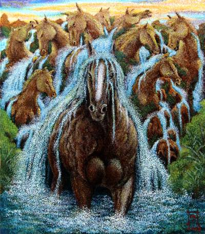 'Horse Cliff' - Signed Impressionist Surrealist Painting of Horses from Java