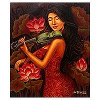 'Violin Learning' - Signed Painting of a Violinist with Lotus from Java