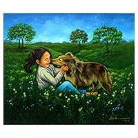 'Playing Together' - Signed Painting of a Girl with a Dog from Java