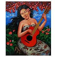 'Symphony Guitar' - Signed Painting of a Woman with a Guitar from Java