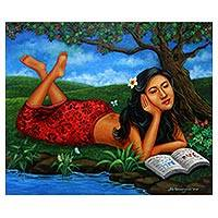 'Studying' - Signed Painting of a Woman Reading in Nature from Java