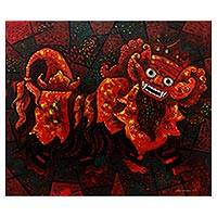 'Balinese Barong' - Signed Expressionist Painting of Barong from Java