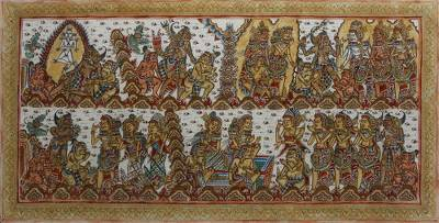 Signed Folk Art Hindu Painting from Bali