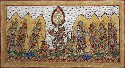 Signed Folk Art Painting Inspired by Hindu Culture from Bali