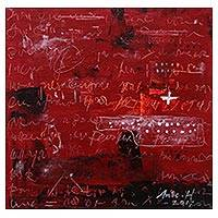 'Message in Bottle' - Signed Modern Abstract Painting in Red from Java
