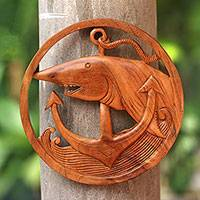 Wood relief panel, 'Anchor Shark' - Nautical Shark-Themed Wood Relief Panel from Bali