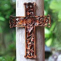 Featured review for Wood wall cross, Lotus Cross