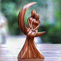 Wood sculpture, 'Romance on the Moon' - Romantic Suar Wood Sculpture from Bali