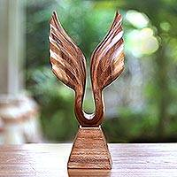 Wood sculpture, 'I Will Fly' - Suar Wood Wing Sculpture Handcrafted in Bali