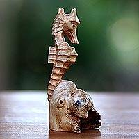Wood figurine, 'Seahorse' - Hand-Carved Wood Seahorse Figurine from Bali