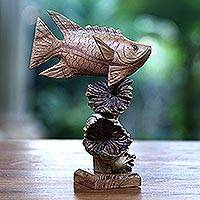 Wood sculpture, 'Dragonfish Reef' - Hand-Carved Wood Dragonfish Sculpture from Bali