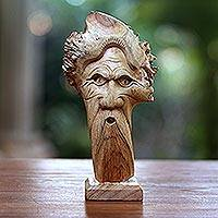 Wood sculpture, 'Blackbeard' - Hand-Carved Wood Portrait Sculpture from Bali