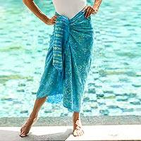 Featured review for Batik rayon sarong, Cerulean Eden