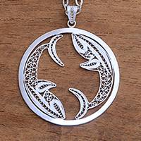 Sterling silver filigree pendant necklace, 'Elegant Pisces' - Sterling Silver Filigree Pisces Necklace from Java