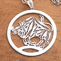 Sterling silver filigree pendant necklace, 'Elegant Taurus' - Sterling Silver Filigree Taurus Necklace from Java