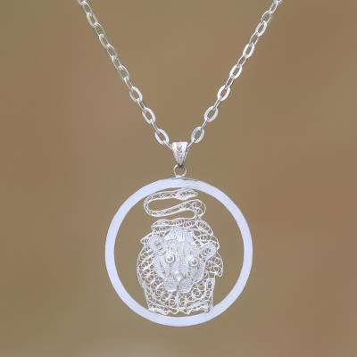 Sterling silver filigree pendant necklace, 'Elegant Leo' - Sterling Silver Filigree Leo Necklace from Java