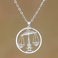 Sterling silver filigree pendant necklace, 'Elegant Libra' - Sterling Silver Filigree Libra Necklace from Java