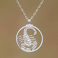 Sterling silver filigree pendant necklace, 'Elegant Scorpio' - Sterling Silver Filigree Scorpio Necklace from Java
