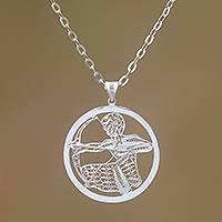 Sterling silver filigree pendant necklace, 'Elegant Sagittarius' - Sterling Silver Filigree Sagittarius Necklace from Java