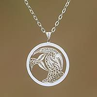 Sterling silver filigree pendant necklace, 'Elegant Capricorn' - Sterling Silver Filigree Capricorn Necklace from Java