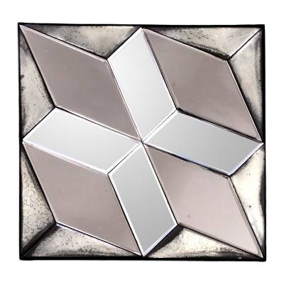 Diamond Motif Glass Decorative Mirror from Java