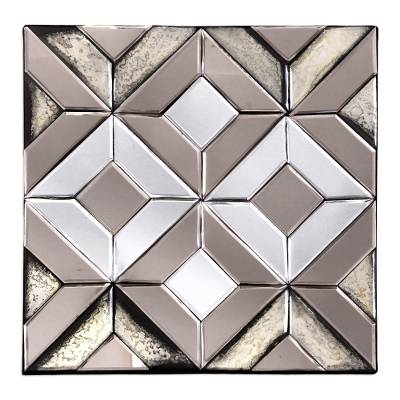Geometric Glass Decorative Mirror from Java