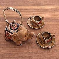 Ceramic tea set, 'Autumn Elephant' (set for 2) - Autumn Leaves Ceramic Elephant Tea Set with Saucers