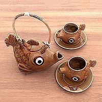 Ceramic tea set, 'Taman Sari Trout' (set for 2) - Handmade Brown Ceramic Fish Tea Set for Two