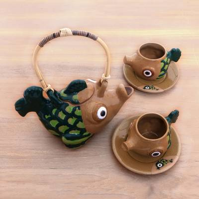 Ceramic tea set, 'Timang Trout' (set for 2) - Handcrafted Javanese Fish Theme Ceramic Tea Set for Two
