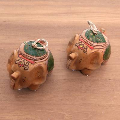 Ceramic condiment bowls, 'Leafy Elephants' (pair) - Handcrafted Ceramic Leafy Elephant Pair of Condiment Bowls