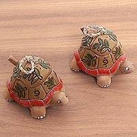 Ceramic condiment bowls, 'Spring Turtles' (pair) - Spring Leaves Ceramic Turtles Pair of Condiment Bowls
