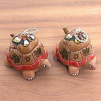 Ceramic condiment bowls, 'Spring Turtles' (pair) - Handcrafted Butterfly and Turtle Ceramic Condiment Bowls