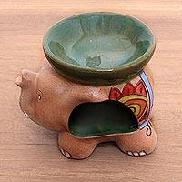 Ceramic oil warmer, 'Tribal Elephant' - Handcrafted Javanese Ceramic Floral Elephant Oil Warmer