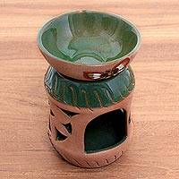Ceramic oil warmer, 'Aromatic Garden' - Handcrafted Butterfly Ceramic Aromatherapy Oil Warmer
