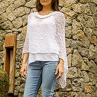 Crocheted poncho, 'White Sanur Shade' - Lightweight Hand Crocheted Poncho in White from Bali