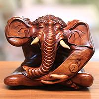 Wood sculpture, 'Ganesha's Story' - Suar Wood Sculpture of Ganesha from Bali