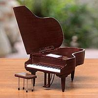Wood miniature decorative piano, 'Grand Piano' - Wood Miniature Decorative Grand Piano from Java