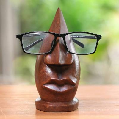Wood eyeglasses stand, 'Prominent Nose in Light Brown' - Wood Eyeglasses Stand in Light Brown from Bali