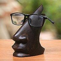 Wood eyeglasses stand, 'Prominent Nose in Dark Brown' - Wood Eyeglasses Stand in Dark Brown from Bali