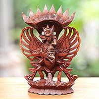 Wood sculpture, 'Holy Duo' - Hand-Carved Suar Wood Sculpture of Vishnu from Bali