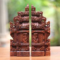 Wood bookends, 'Gapura Gaze' (12 inch) - Hand-Carved Cultural Suar Wood Bookends from Bali (12 in.)