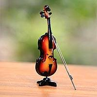 Wood miniature decorative violin, 'Virtuoso' - Mahogany Wood Miniature Decorative Violin from Java