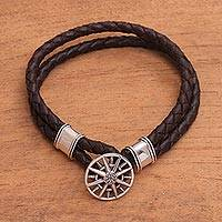 Sterling silver accent leather braided bracelet, 'True North' - Leather Braided Cord Bracelet with a Sterling Silver Compass