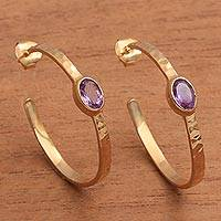 Gold plated amethyst half-hoop earrings, 'Paradox' - 18k Gold Plated Amethyst Hammered Half-Hoop Earrings