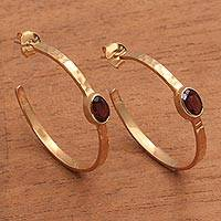 Gold plated garnet half-hoop earrings, 'Paradox' - 18k Gold Plated Garnet Hammered Half-Hoop Earrings