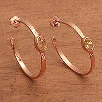 Rose gold plated citrine half-hoop earrings, 'Paradox' (Indonesia)