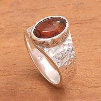 Amber cocktail ring, 'Fascinating Eye' - Eye-Shaped Amber Cocktail Ring from Bali
