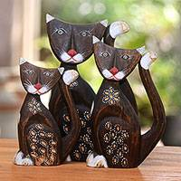 Wood statuettes, 'Purring Blossoms' (set of 3) - Hand-Carved Feline Set of Three Albesia Wood Statuettes