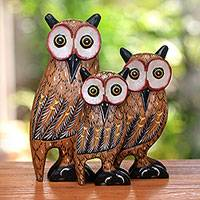 Wood sculptures, 'Hooting Family' (set of 3) - Set of Three Hand-Carved Albesia Wood Owl Family Sculptures